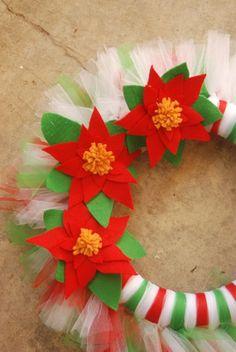 Christmas Poinsettia TuTu Tulle Wreath by pickypickypeacock, $67.00