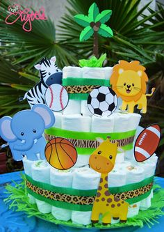he{ART} lyttle: Jungle Sports theme diaper cake
