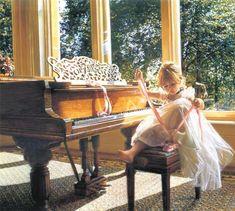The little ballerina And The piano Realistic Paintings, Paintings I Love, Beautiful Paintings, Robert Motherwell, Richard Diebenkorn, Jackson Pollock, Sandro, Keith Haring, Little Ballerina