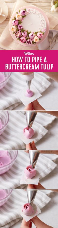 How to Pipe Buttercream Tulip Flowers Decorate your cake and cupcakes with beautiful buttercream tulips and see them bloom Made by overlapping small petals these butterc. Cake Decorating Frosting, Frosting Tips, Frosting Recipes, Cookie Decorating, Icing Flowers, Buttercream Flowers, Buttercream Cake, Fondant Flowers, Cakes To Make