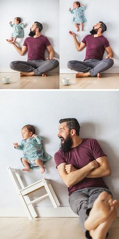 This dad's photo series with his baby girl is the best optical illusion