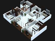 3 bedoom帶陽台的房子的計劃