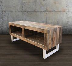 reclaimed wood media console white tube steel legs - Reclaimed Wood Media Console