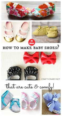 How to make baby shoes with fabric(cloth) and leather that are cute & comfy. Free patterns and sewing tutorials for handmade baby sandals, booties, & shoes.