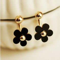 DROPPING BLACK FLOWER DANGLE EARRINGS