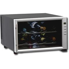 Frigidaire 8-Bottle Wine Cooler: Keep a few of your favorite bottles of wine chilled inside this Frigidaire wine cooler, which features sliding chrome shelves for quick access to stored items. Simply select the appropriate temperature using the digital controls.