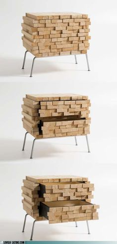 This is a different take on furniture. Check out the hidden drawers.
