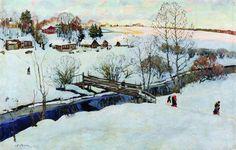 L hiver. Little Bridge, huile sur toile de Konstantin Yuon (1875-1958, Russia)