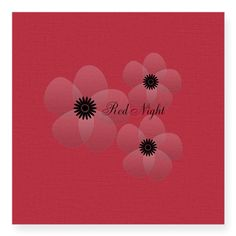 Cute Red Satin Night Flowers Holiday Gift Sticker, water resistant, decor,party,wedding,baby shower