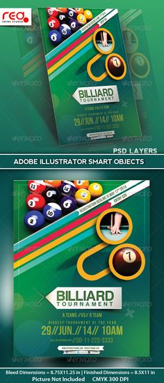 Billiard Tournament Flyer Poster Magazine Template by redshinestudio SPECIFICATIONFlyer / Poster Template is 8.5 by 11 in (8.75 in by 11.25 in with bleeds) and is ready for print, because its in CMY