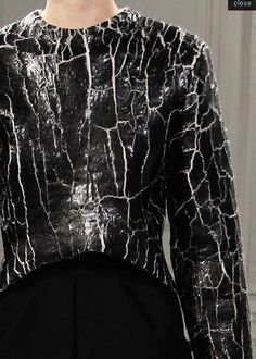 Cracked Leather Sweater - bold fashion details; textured leather // Balenciaga Fall 2013