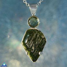 Artisan Moldavite Sterling Silver Pendant by ArkadianCollection