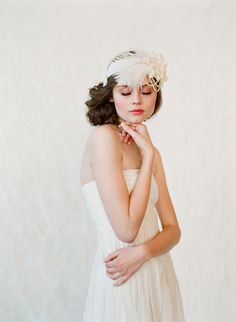 Wedding headband, bridal hair piece, feather, pearl - Flapper inspired bridal headband - Style 148 - Made to Order. $320.00, via Etsy.