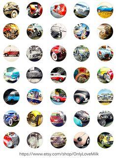Retro auto's Vintage oude digitale Collage door OnlyLoveMilkDesign
