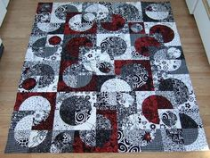 drunkards path-my favorite colors of black/red/grey/white
