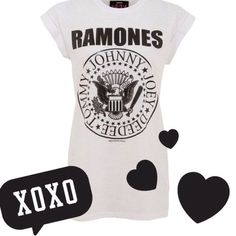 White Ramones Logo Band Tee with Fold-Over Sleeves Adorable Ramones band tee in EUC. Women's size Large. Fold over sleeves. (Not actually tunic length.) Doesn't look like there's any pilling, staining, etc. Looks cute with leggings!  1234 Ramones Tops Tees - Short Sleeve