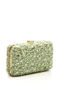 Rendered in a mint green-color, this elegant **Elie Saab** clutch features allover tonal embroidery with a drop-in leather and chain strap. Green Clutches, Clutch Purse, Bucket Bag, Potli Bags, Designer Clutch, Beaded Purses, Beautiful Bags, Elie Saab, Shoes