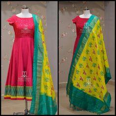 Teja Sarees. Hyderabad. Contact : 8790382382. Email : tejasarees@yahoomail.com. Long Gown Dress, Frock Dress, Long Dresses, Pretty Dresses, Indian Fashion Dresses, Indian Gowns Dresses, Indian Outfits, Designer Anarkali Dresses, Designer Dresses
