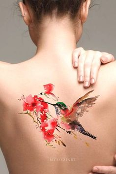 Beautiful Watercolor Pink Hummingbird Back Spine Temporary Tattoos Ideas for Wom., - Beautiful Watercolor Pink Hummingbird Back Spine Temporary Tattoos Ideas for Wom…, - Trendy Tattoos, Black Tattoos, Body Art Tattoos, New Tattoos, Small Tattoos, Sleeve Tattoos, Tattoos For Women, Spine Tattoos, Tatoos