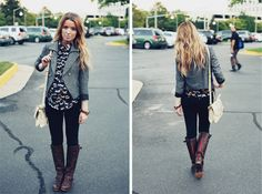 Jacket, boots, leggings, loose shirt -- might be my fall uniform.