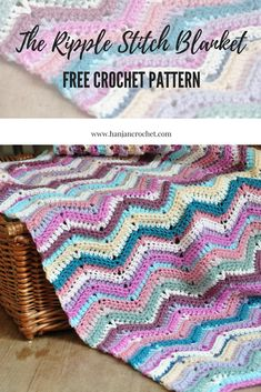 Crochet Afghans Patterns The Ripple Stitch Blanket – Free Crochet Pattern – HanJan Crochet - Life has been a little crazy at HanJan recently and I apologise for not being around much! My latest free pattern is here though with… Crochet Hood, Crochet Ripple, Baby Afghan Crochet, Afghan Crochet Patterns, Crochet Stitches, Free Crochet, Crochet Throws, Ripple Crochet Blankets, Easy Crochet