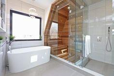 Sauna and shower combo Bathroom Spa, Bathroom Renos, Bathroom Layout, Bathroom Interior Design, Master Bathroom, Saunas, Sauna Shower, Sauna Design, Sauna Room