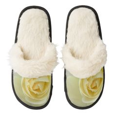 Delicate white rose flower macro picture slippers