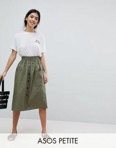 Хлопковая юбка миди на пуговицах ASOS DESIGN Petite
