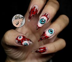Perhaps you have discovered your nails lack of some trendy nail art? Yes, lately, many girls personalize their nails with beautiful … Scary Nails, Fun Nails, Pretty Nails, Zombie Nails, Halloween Nail Designs, Halloween Nail Art, Creepy Halloween, Pink Halloween, Halloween Halloween
