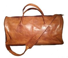 All Leather Brown Duffle/Carry On/Travel Bag