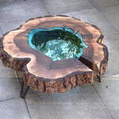 wood table inlaid beach stones ile ilgili görsel sonucu