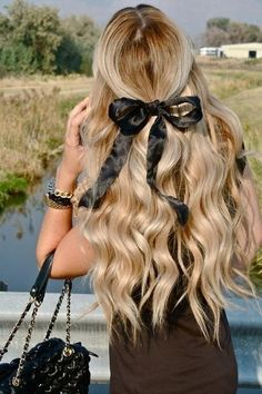 Beautiful half-up long, wavy hair with black bow- So cute and girly!