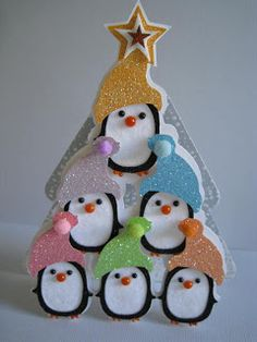 Joy of the Season Cricut Cartridge: Peguin Pyramid attached to a tree card.