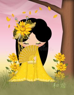 Illustration about Harmony Kokeshi Doll in blends of yellow and green with a touch of pink. Illustration of touch, blends, leaves - 49585169 Art Fantaisiste, Art Mignon, Art Asiatique, Japanese Artwork, Baby Clip Art, Cute Cartoon Girl, Art Japonais, Kokeshi Dolls, Japanese Design