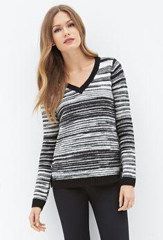 FOREVER 21 Contemporary Striped V-Neck Sweater