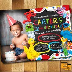 Elmo Invitation, Elmo Birthday Invitation, Sesame Street Invitation , Birthday Party Invitation by ArtAmoris on Etsy Monster Birthday Parties, 3rd Birthday Parties, 2nd Birthday, Elmo Party, Birthday Ideas, Sofia Party, Mickey Party, Dinosaur Party, Dinosaur Birthday