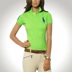 Ralph Lauren Women Navy Soft Orange Big Pony Polo