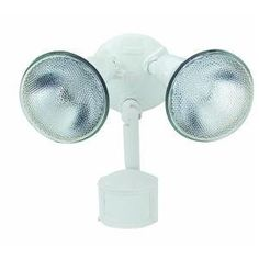 Cooper/Regent MS185W Motion Activated Flood Lights White 120-volts 150 watt max by Cooper. $23.00. From the Manufacturer                180 degree Motion security floodlight in white.  Non metallic sensor head and corrosion resistant die cast metal fixture.  This energy star rated fixture detects motion at 180 degrees and up to 70 feet and also includes adjustable time and sensitivity settings so that you can customize fixture for your area.  The fixture can be m...