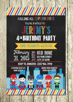 Little Superhero Chalkboard Printable Digital Birthday Invitations and Thank You Cards + Photos