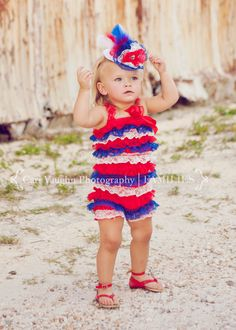 Patriotic Romper 4th of July Baby Girl Romper by SparklingTwinkies, $17.95