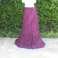 Purple, plum tiered crinkle wrap skirt with crochet waist