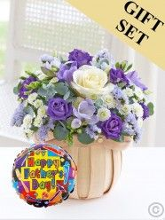 Cool Blue Petite Basket & Father's Day Balloon