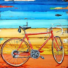 "Miles of Memories - Danny Phillips art print, UNFRAMED, bicycle cycling spin Inspired funky retro vintage mixed media art wall & home decor poster, ALL SIZES. This is a reproduction fine art print of a Danny Phillips' original mixed media painting. This poster comes UNFRAMED and is the perfect gift for the cycle lover. This print comes square with flush edges or in standard sizes with 1/2"" side white border backgrounds.**See pictures for examples**.This gift is an ideal addition for your..."