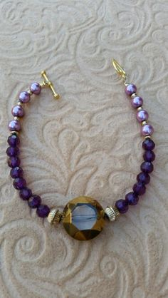 Purple pearl with purple crystal beads