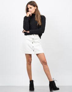 Flared Button Down Skirt - White Denim Skirt - Mini Skirt – Bottoms – 2020AVE