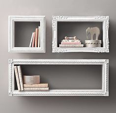 DIY SHELVES Find frames from a thrift store, attach wood to all sides, paint and hang on wall. New and creative shelves Shelves, Home Projects, Interior, Diy Furniture, Display Shelves, Diy Home Decor, Home Decor, Shelf Decor, Diy Wall Art