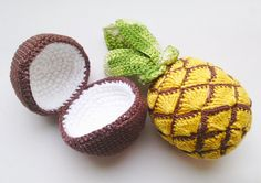 1 piece crochet coconut Teether teeth play by RainbowHappiness