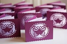 this person used a silhouette machine, but i think this could be done with the cricut, if you use craft room to weld a butterfly cutout with some kind of circle fram or shape Silhouette Curio, Silhouette Cutter, Silhouette Machine, Silhouette Cameo Projects, Silhouette Images, Butterfly Baby Shower, Diy Butterfly, Butterfly Cards, Butterfly Cutout