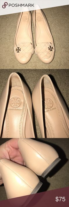 Tory Burch nude flats Tory Burch nude flats/loafers. These are a reposh- they're just not my style. Hardly worn. Only some minor wear on the backs as you can see in the pics. Not noticeable.   Awesome leather shoes with a suede top and gold TB logo. Tory Burch Shoes Flats & Loafers