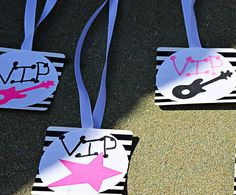 girls rock star party, make into name tags? Rockstar Birthday, Barbie Birthday, Barbie Party, Bday Girl, Diva Party, Party Party, Pop Star Party, Disco Party Decorations, 10th Birthday Parties